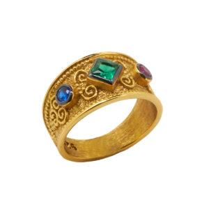 Βυζαντινό Δαχτυλίδι από Επιχρυσωμένο Ασήμι 925 ΑΔΚ0225